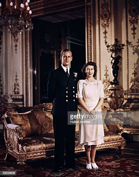Princess Elizabeth and Prince Philip Duke of Edinburgh at Buckingham Palace shortly before their wedding