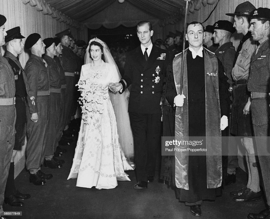 Princess Elizabeth and Prince Philip, the Duke of Edinburgh, leave Westminster Abbey on the day of their wedding, London, November 20th 1947.