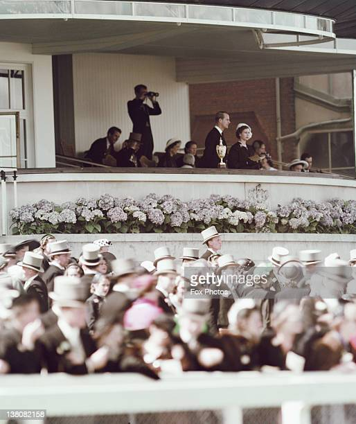 Princess Elizabeth and Prince Philip watching a race at Ascot Racecourse Berkshire 1952