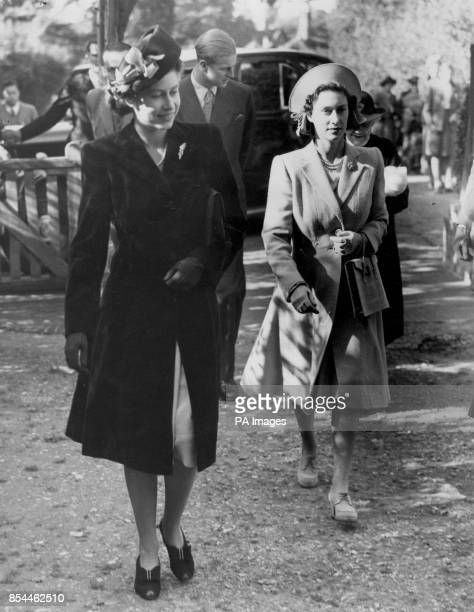 Princess Elizabeth and Princess Margaret arriving at Worplesdon Parish Church for the christening of baby Rosemary Elizabeth Princess Elizabeth is to...
