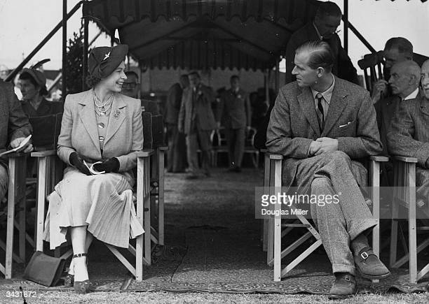Princess Elizabeth and the Duke of Edinburgh attending the Royal Horse Show at Windsor