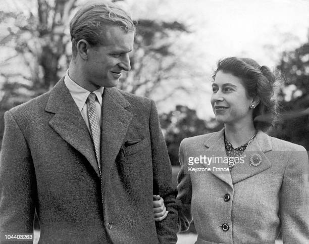 Princess ELIZABETH and the Duke of EDINBURGH make a charming picture when they specially posed for the camera at Broadlands Romsey where they are...
