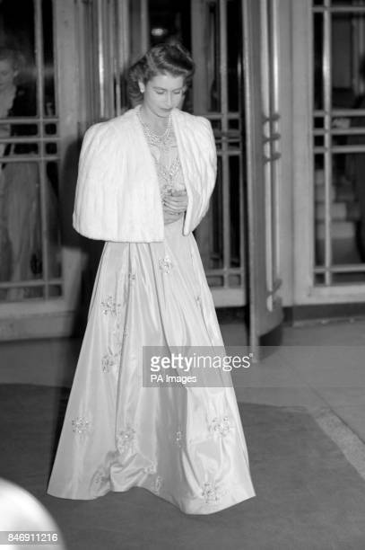 Princess Elizabeth as she left the Dorchester Hotel London the day before the announcement by the King of the engagement of Princess Elizabeth and...