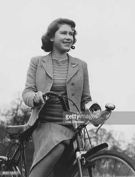 Princess Elizabeth cycling at the Royal Lodge in Windsor UK 4th April 1942