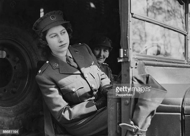 Princess Elizabeth driving an ambulance during her wartime service in the ATS 10th April 1945