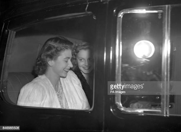 Princess Elizabeth driving from Buckingham Palace the day before the announcement by the King of the engagement of Princess Elizabeth and Lieutenant...