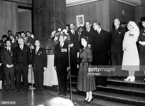 Princess Elizabeth gives a speech during a visit to the 1500 bed Sunnybrook Hospital Toronto which is one of the largest military hospitals in the...