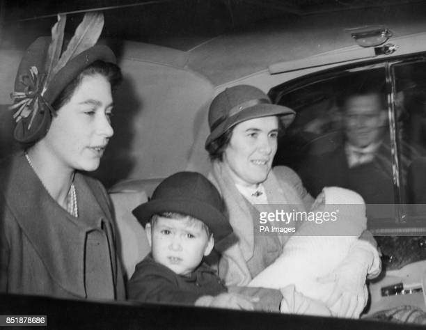 Princess Elizabeth her two children Prince Charles and Princess Anne and Princess Margaret arrive in London from Scotland after their Deeside holiday...