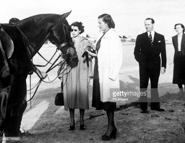 Princess Elizabeth inspects one of the horses at the Marsa Malta when she saw Earl Mountbatten's polo team the Shrimps lose to the Madhatters in the...