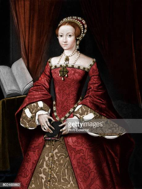Princess Elizabeth later Queen' c1547 Portrait of the future Queen Elizabeth I aged 14 before she was expected to be queen Illustration after a...