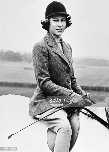 Princess Elizabeth now Queen Elizabeth II riding in Windsor Great Park on her 14th birthday on 20th April 1940