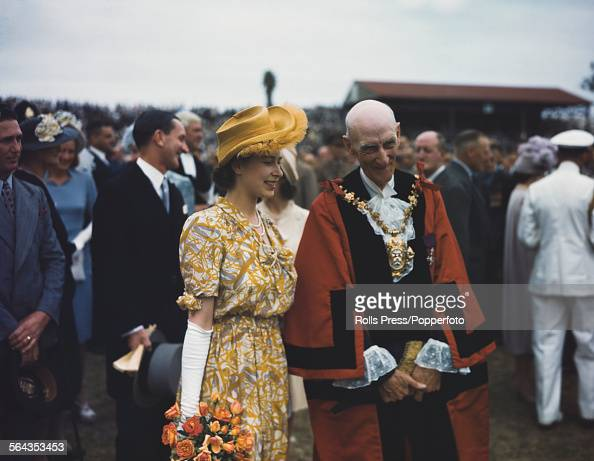 Princess Elizabeth pictured talking to a local mayor at an event at St George's Park in Port Elizabeth during the Royal Tour of South Africa in 1947