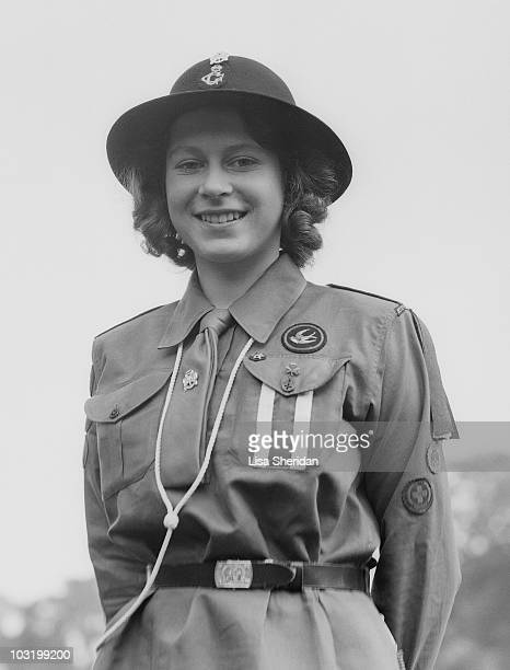 Princess Elizabeth poses in her girl guide uniform in Frogmore Windsor England on April 11 1942