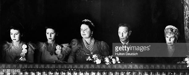Princess Elizabeth Princess Margaret Queen Elizabeth King George VI and Queen Mary attend the reopening of the Royal Opera House at the end of World...