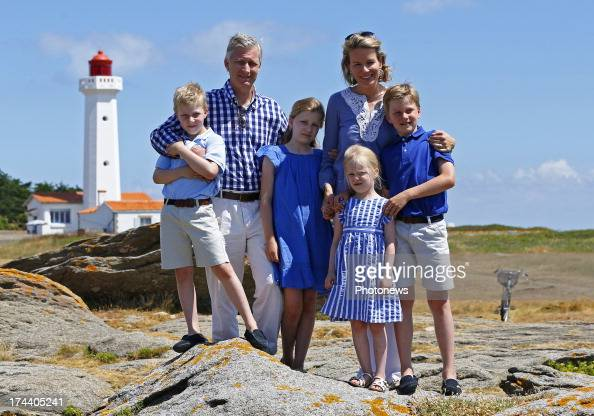 Princess Elizabeth Queen Mathilde Princess Eleonore Prince Gabriel King Philippe and Prince Emmanuel of Belgium pose during their holiday on l'Ile...