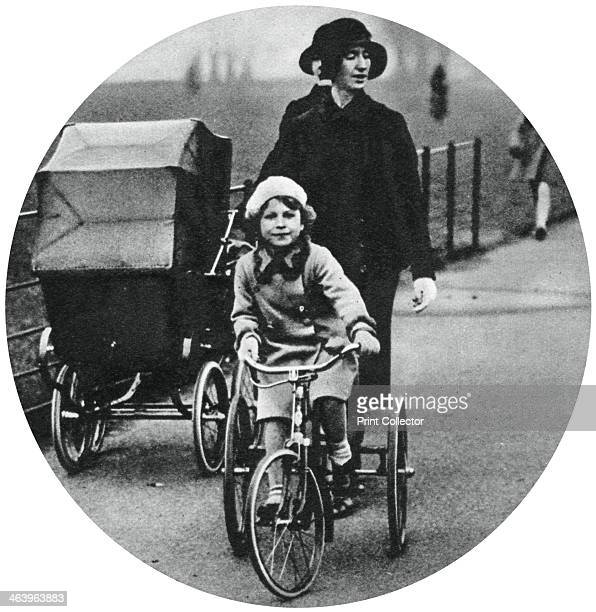 Princess Elizabeth riding a tricycle March 1932 The future Queen Elizabeth II A print from the Illustrated London News Coronation Record Number