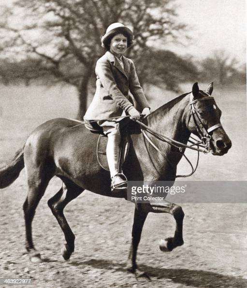 Princess Elizabeth riding her pony in Winsor Great Park 1930s The future Queen Elizabeth II of Great Britain as a child