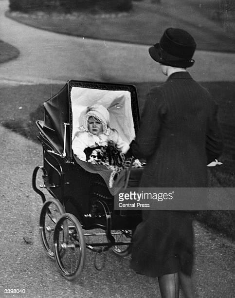 Princess Elizabeth sitting in a pram