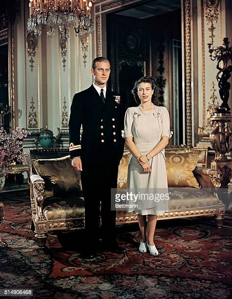 Princess Elizabeth stands with fiancee Lieutenant Philip Mountbatten Prince of Greece and Denmark