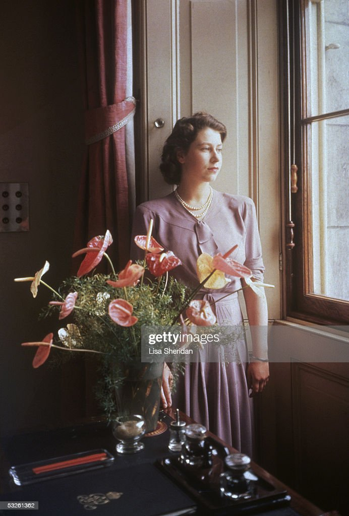 Princess Elizabeth, the future Queen <a gi-track='captionPersonalityLinkClicked' href=/galleries/search?phrase=Elizabeth+II&family=editorial&specificpeople=67226 ng-click='$event.stopPropagation()'>Elizabeth II</a> gazes through a window, near an exotic floral arrangement, 1946.