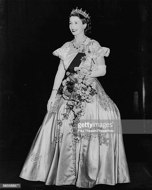 Princess Elizabeth wearing a ball gown sash and diamond tiara at the Diamond Jubilee celebrations of the London County Council in Westminster London...
