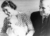 Princess Elizabeth with her husband Prince Philip Duke of Edinburgh and their baby son Prince Charles July 1949