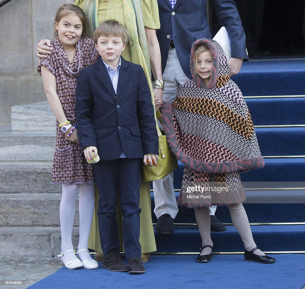 Princess Eloise, Prince Claus-Casimir and Princess Leonore leave the Royals Palace after a brunch with King Willem Alexander and Queen Maxima of The Netherlands on May 1, 2013 in Amsterdam Netherlands.