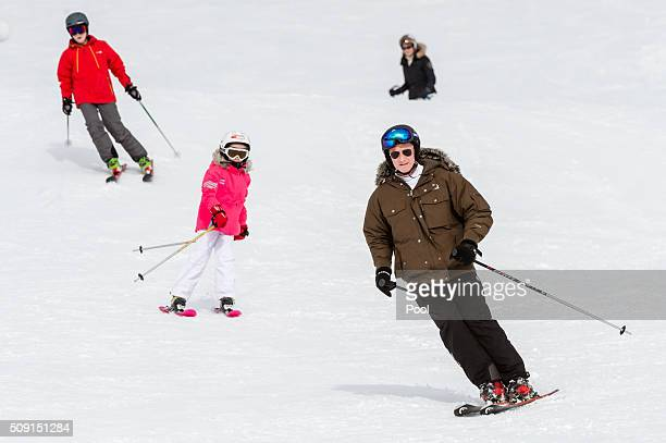 Princess Eléonore of Belgium Prince Emmanuel of Belgium and King Philippe of Belgium ski during their family skiing holiday on February 08 2016 in...