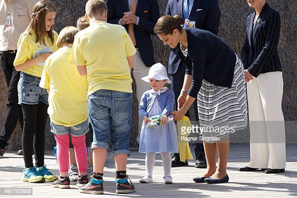 Princess Estelle of Sweden and Crown Princess Victoria of Sweden open a Fairytale Path at Lake Takern on May 17 2014 in Mjolby Sweden