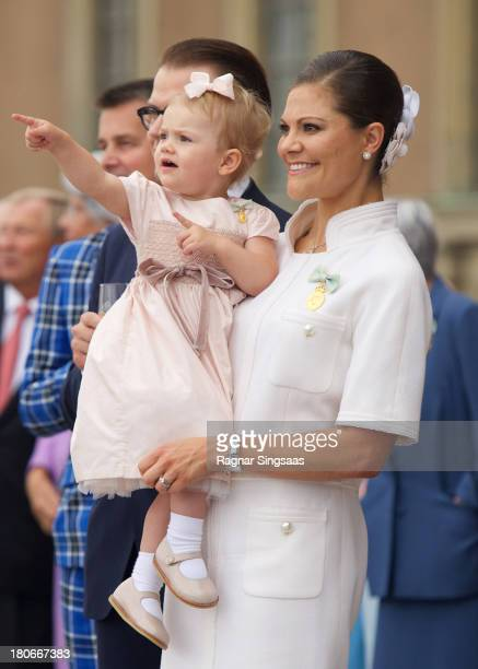 Princess Estelle of Sweden and Crown Princess Victoria of Sweden attend the City Of Stockholm Celebrations during King Carl Gustaf's 40th Jubilee on...