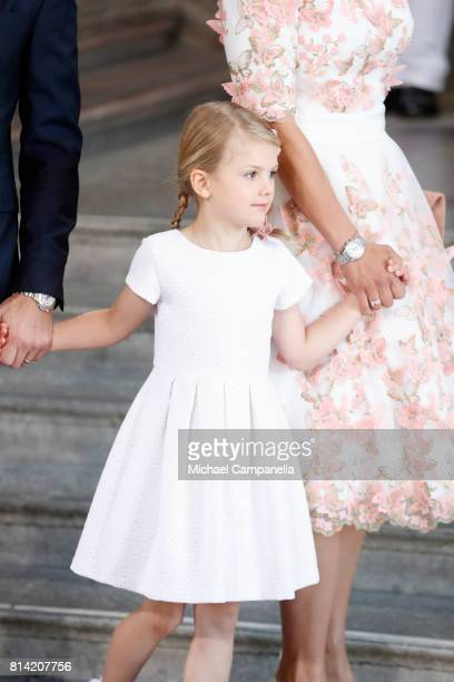 Princess Estelle of Sweden arrives for a thanksgiving service on the occasion of The Crown Princess Victoria of Sweden's 40th birthday celebrations...