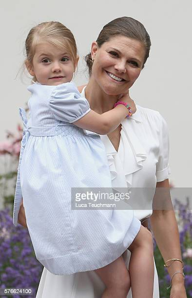 Princess Estelle of Sweden arrives for Birthday celebrations of Crown Princess Victoria of Sweden at Solliden Palace on July 14 2016 in Oland Sweden
