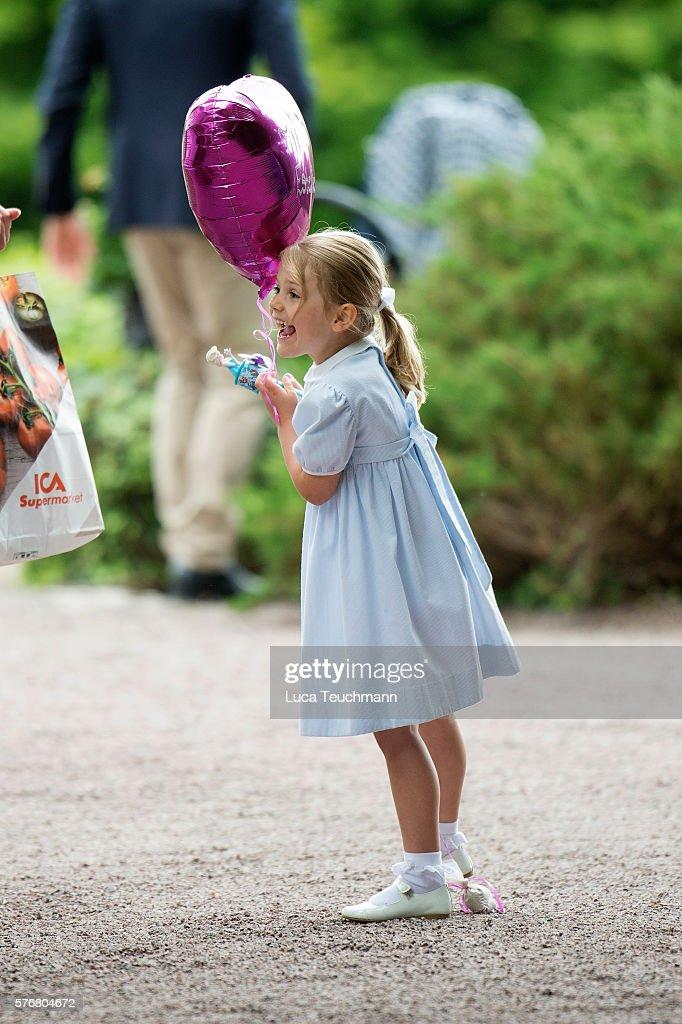 Princess Estelle of Sweden arrives for Birthday celebrations of Crown Princess Victoria of Sweden at Solliden Palace on July 14, 2016 in Oland, Sweden.
