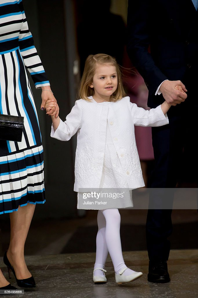 Princess Estelle of Sweden arrives for the Te Deum Thanksgiving Service, at The Royal Palace, Stockholm, on the occasion of King Carl Gustaf of Sweden's 70th Birthday,on April 30, 2016, in Stockholm, Sweden.