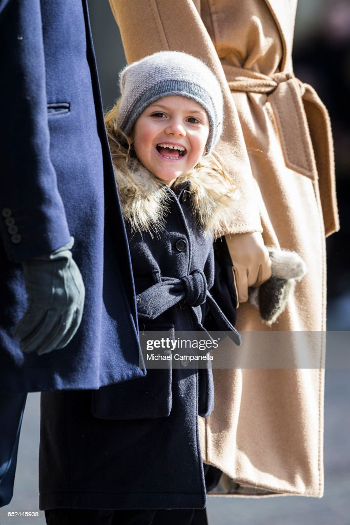 Princess Estelle of Sweden attends a name day celebration for Princess Victoria at the Royal Palace on March 12, 2017 in Stockholm, Sweden.
