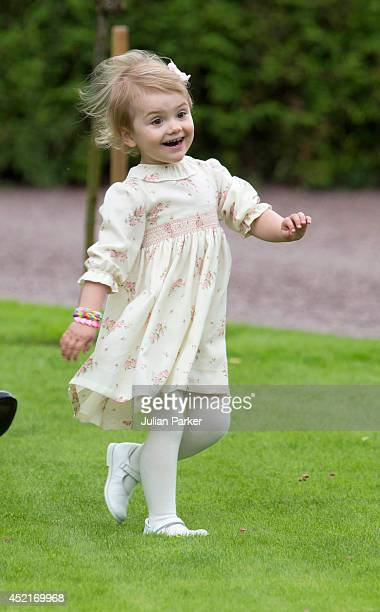 Princess Estelle of Sweden attends the 37th Birthday celebrations of her mother Crown Princess Victoria of Swedenat Solliden Borgholm on July 14 2014...