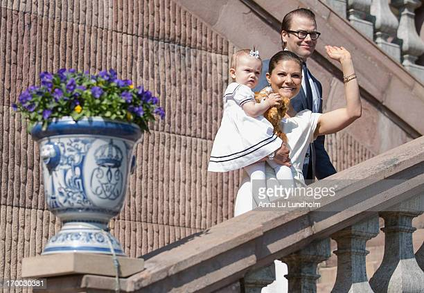 Princess Estelle of Sweden Crown Princess Victoria of Sweden and Prince Daniel of Sweden attends the National Day Celebrations at the Royal Palace on...