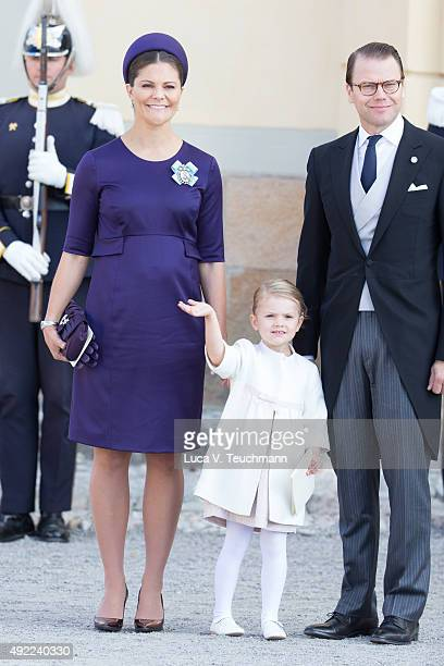 Princess Estelle of Sweden Crown Princess Victoria of Sweden and Prince Daniel of Sweden are seen at Drottningholm Palace for the Christening of...