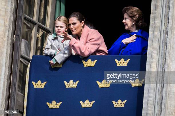 Princess Estelle of Sweden Crown Princess Victoria of Sweden and Queen Silvia of Sweden during a celebration of King Carl Gustav's 71st birthday at...