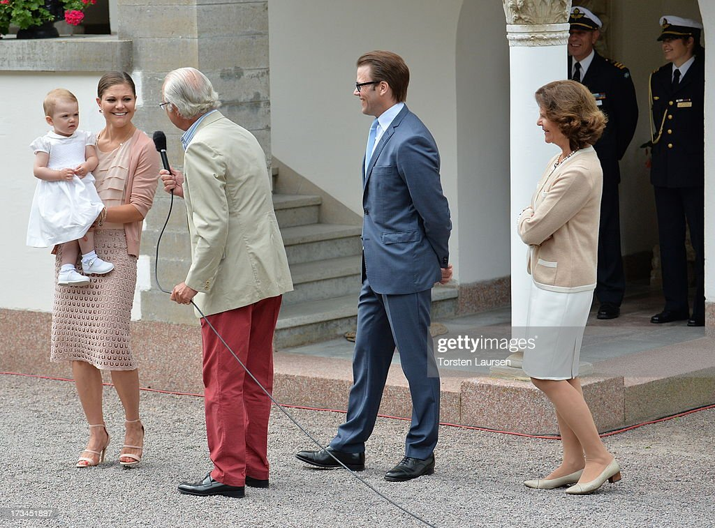 Princess Estelle of Sweden, Crown Princess Victoria of Sweden, King Carl XVI Gustaf of Sweden, Prince Daniel, Duke of Vastergotland and Queen Silvia of Sweden attend Victoria Day celebrations at Solliden Castle on July 14, 2013 in Borgholm, Sweden.
