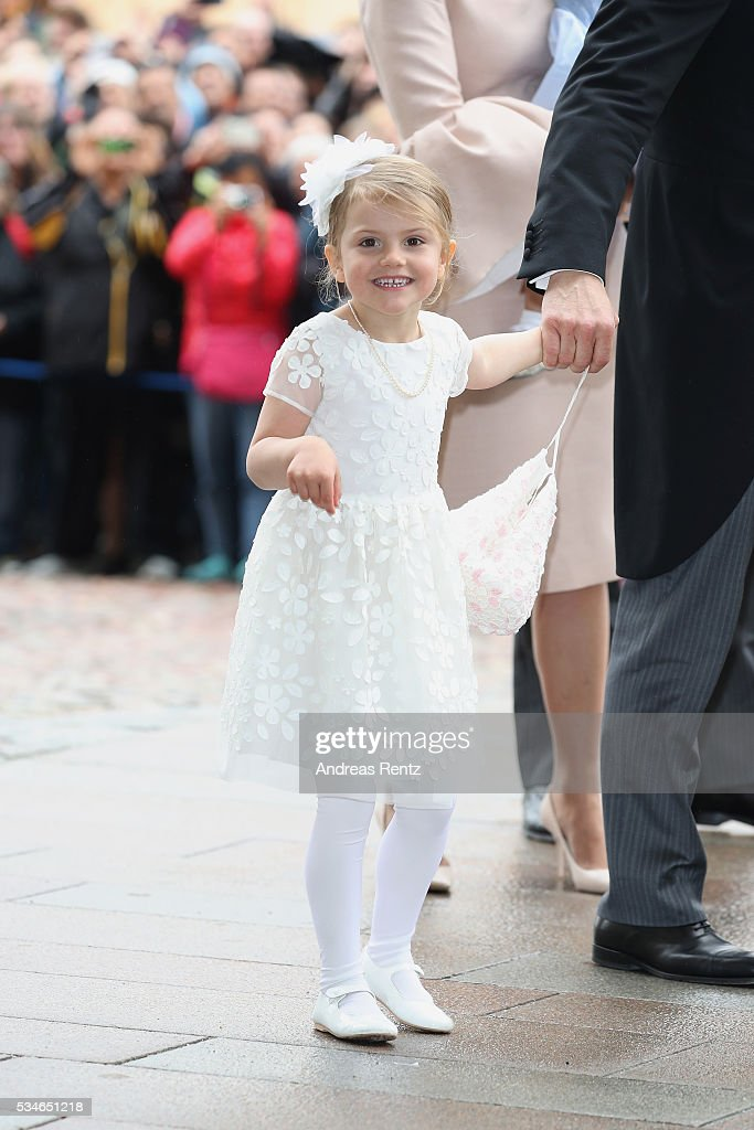 <a gi-track='captionPersonalityLinkClicked' href=/galleries/search?phrase=Princess+Estelle&family=editorial&specificpeople=8948207 ng-click='$event.stopPropagation()'>Princess Estelle</a> of Sweden is seen after the christening of Prince Oscar of Sweden ceremony at Royal Palace of Stockholm on May 27, 2016 in Stockholm, Sweden.