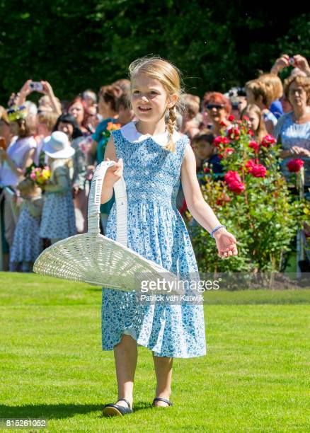 Princess Estelle of Sweden is seen meeting the people gathered in front of Solliden Palace to celebrate the 40th birthday of Crown Princess Victoria...