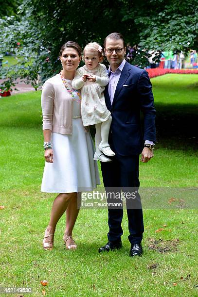 Princess Estelle of Sweden Prince Daniel Duke of Vastergotland and Crown Princess Victoria of Sweden attend the Victoria Day celebrations on the...