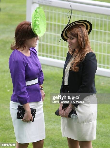Princess Eugenie and Beatrice during ladies day at Ascot Racecourse Berkshire