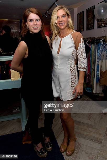 Princess Eugenie and Chelsy Davy pose for photographs at the launch of Chelsy Davy's new jewellery range at 'AYA' at Baar and Bass on June 21 2016 in...