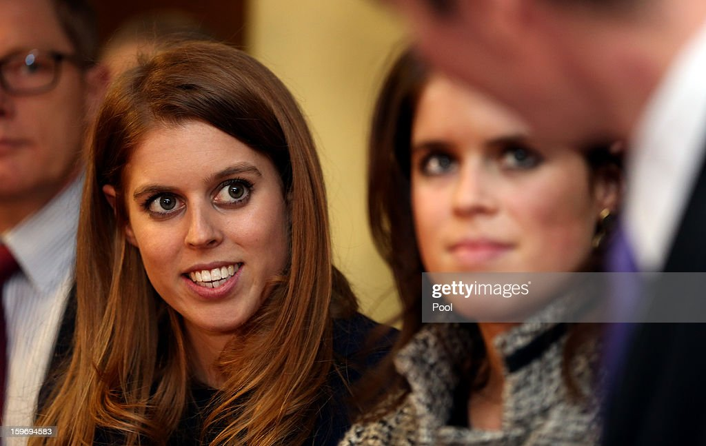Princess Eugenie and Princess Beatrice (L) are seen during a visit to the Teenage Cancer Treatment Unit at the University of Medicine on January 18, 2013 in Hanover, Germany. The royal sisters are in Hanover on the second day of a two day visit to Germany. Yesterday the royals were in Berlin helping support GREAT, the British Government's initiative promoting the UK abroad.