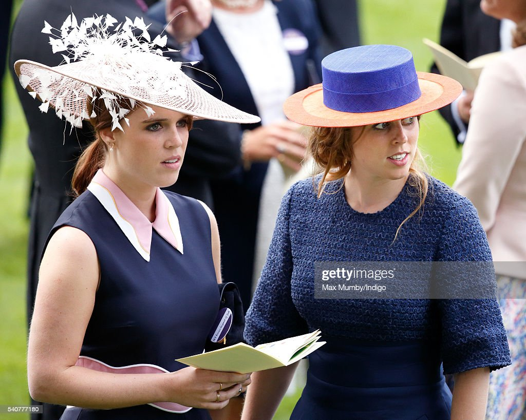 Princess Eugenie and Princess Beatrice attend day 3 'Ladies Day' of Royal Ascot at Ascot Racecourse on June 16, 2016 in Ascot, England.