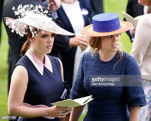 Princess Eugenie and Princess Beatrice attend day 3 'Ladies Day' of Royal Ascot at Ascot Racecourse on June 16 2016 in Ascot England