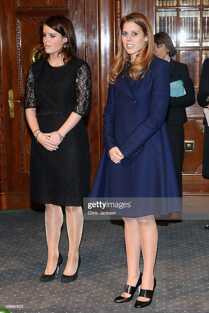 Princess Eugenie and Princess Beatrice listen to a speech by Mayor of Hanover Stephan Weil at Hanover City Hall on January 18, 2013 in Hanover, Germany. The royal sisters are in Hanover on the second day of a two day visit to Germany.Yesterday the royals were in Berlin helping support GREAT, the British Government's initiative promoting the UK abroad.