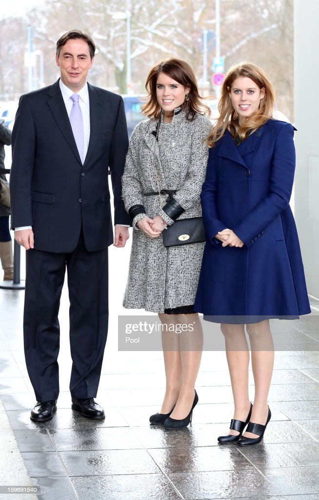 Princess Eugenie (C) and Princess Beatrice (R) meet with Minister President David McAllister (L) on January 18, 2013 in Hanover, Germany. The royal sisters are in Hanover on the second day of a two day visit to Germany. Yesterday the royals were in Berlin helping support GREAT, the British Government's initiative promoting the UK abroad.